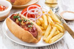 Fast food - hot dog with French fries and chips on table Royalty Free Stock Photography