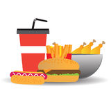 Fast food with hot dog, fries and burger,  illustration Royalty Free Stock Images