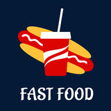 Fast food hot dog with soda Stock Images