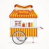 Fast Food Hot Dog Street Market Stall. Vector. Fast Food Hot Dog Street Market Stall on a Light Background. Vector illustration vector illustration