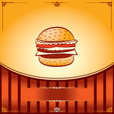 Fast Food Hot Hamburger. Hot Hamburger. Vector graphic Illustration with place for text Stock Photo