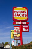 Fast Food Hungry Jacks roadside sign. The Burger King restuarant chain is named in Australia as Hungry Jacks Royalty Free Stock Image