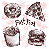 Fast food i napoju nakreślenia set Zdjęcia Stock