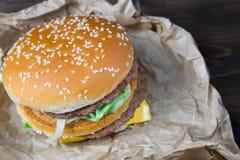 Fast food i zazębiony szkło świeży lekki piwo Zdjęcie Stock