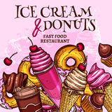 Fast food ice cream and donuts vector poster. Ice cream and donuts vector poster for fast food restaurant desserts menu. Frozen fruit or berry juice, chocolate Stock Photography