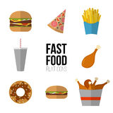 Fast food icon design. Flat icons of junk food isolated on white Royalty Free Stock Photo