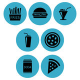Fast food icon designs stock illustration