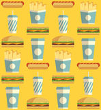 Fast Food icon pattern. Fast Food icons pattern on orange/yellow background. Business lunch print. Modern color. Minimalistic style. Flat design. Vector Stock Photo