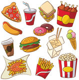 Fast food icon set Royalty Free Stock Photo
