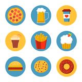 Fast food icon set collection, flat design. Pizza, beer, coffee, cold drink, french fries, cupcake, burger, cake, donut. Vector illustration in circle. Perfect stock illustration