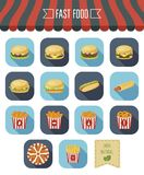 Fast food icon set and eco label. Flat design. Vector. Illustration Royalty Free Stock Photo