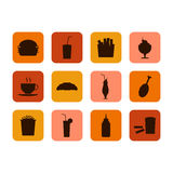 Fast food icon, set of food and drinks Stock Image