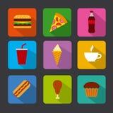 Fast food icon set. Illustration of the fast food icon set Stock Photo