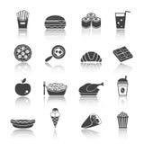 Fast Food Icon Set. Fast junk food icons set of sandwich hot dog pizza hamburger  isolated vector illustration Stock Image