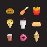 Fast food icon set. Pixel art style Royalty Free Stock Image
