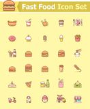 Fast food icon set. Set of the fast food related icons royalty free illustration