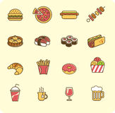 Fast food icon set Royalty Free Stock Photos