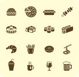 Fast food icon set Royalty Free Stock Image