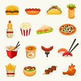 Fast food icon set. Vector Illustration Royalty Free Stock Images