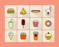 Fast food icon set Stock Images