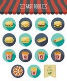 Fast food icon set whit eco label. Flat design. Vector. Illustration Stock Photos