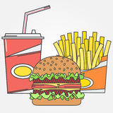 Fast food icon. Vector icon cola,fries and burger . For web design and application interface, also useful for infographics. Vector Stock Photo