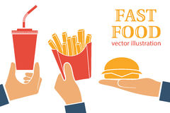 Fast food icon. On white background. Vector illustration flat design style. People hold hamburger, french fries in paper box, soda drink. Takeaway food Stock Image