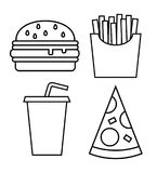 Fast food icons – stock illustration. Neditable file Royalty Free Stock Photos