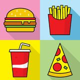 Fast food icons – stock illustration. Neditable file Royalty Free Stock Photography