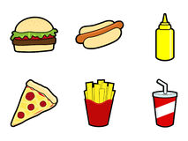 Fast Food Icons. A set of cartoon style fast food icons Royalty Free Stock Image