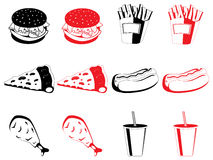Fast food icons Royalty Free Stock Images
