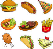 Fast food icons. A vector illustration of fast food icons Stock Photo