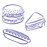 Fast food icons. Black and white hand-drawn look: hamburger, hot-dog, cheese sandwich Stock Photo