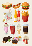 Fast food icons. Set of colorful cartoon fast food icons. Isolated vector