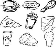 Fast food icons. Black and whte hand-drawn look: hamburger, hotdog, fried chicken, pizza, fries, grilled cheese sandwich, coke, pie, shake Royalty Free Stock Images