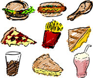 Fast food icons. Hand-drawn look: hamburger, hotdog, fried chicken, pizza, fries, grilled cheese sandwich, coke, pie, shake rough sketchy coloring Royalty Free Stock Photo