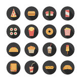 Fast food icons. Flat fast food icons on round dark background Stock Image