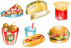 Fast food icons. A collection of artistic drawings or icons of six different kinds of popular fast foods Stock Image