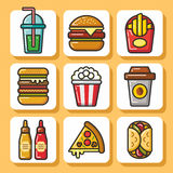 Fast food icons_1 Imagem de Stock