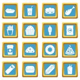 Fast food icons azure. Fast food icons set in azur color isolated vector illustration for web and any design Stock Photography