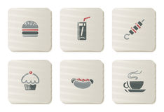 Fast food icons | Cardboard series Stock Photography