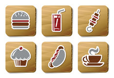 Fast food icons | Cardboard series Royalty Free Stock Images