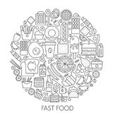 Fast food icons in circle - concept line vector illustration infographic for cover, emblem, badge. Outline icon set. Fast food icons in circle - concept line Stock Photo