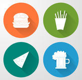 Fast food icons. Color fast food icons with shadow Stock Image