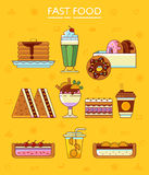 Fast food icons. Royalty Free Stock Image