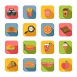 Fast Food Icons Flat. Fast junk food icons flat set of popcorn coffee croissant eggs isolated vector illustration royalty free illustration