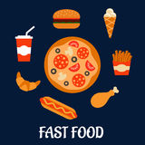 Fast food icons in flat style Stock Image