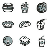 Fast Food Icons Freehand 2 Color Stock Image