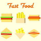 Fast food icons, mono vector symbols. Two style Stock Image