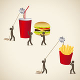 Fast food icons. Over beige background vector illustration Stock Photography
